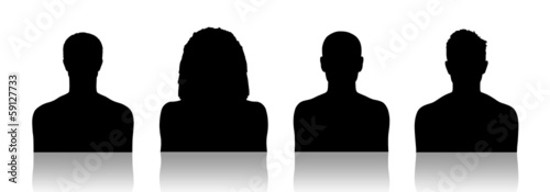 men id silhouette portraits set 1 Wallpaper Mural