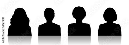 Photo women id silhouette portraits set 1