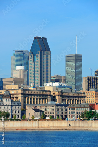 Wall Murals Place of worship Montreal city skyline over river