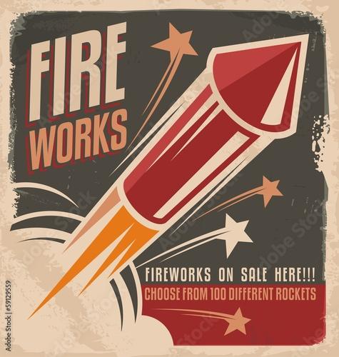 Vintage fireworks poster design