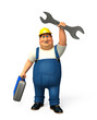 Plumber which his wrench & tool box
