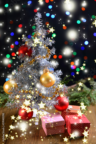 Fototapety, obrazy: Decorative Christmas tree with gifts