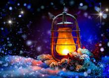 Christmas Lantern. Magic Stars. Winter Holiday Scene