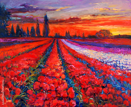 Canvas Prints Red Poppy fields
