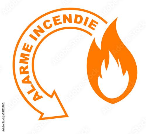 Photo alarme incendie flèche orange