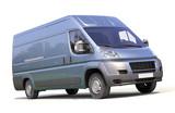 Fototapeta Miasto - Blue commercial delivery van