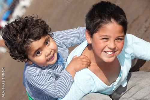 Obraz na plátně  happy little brothers outdoors
