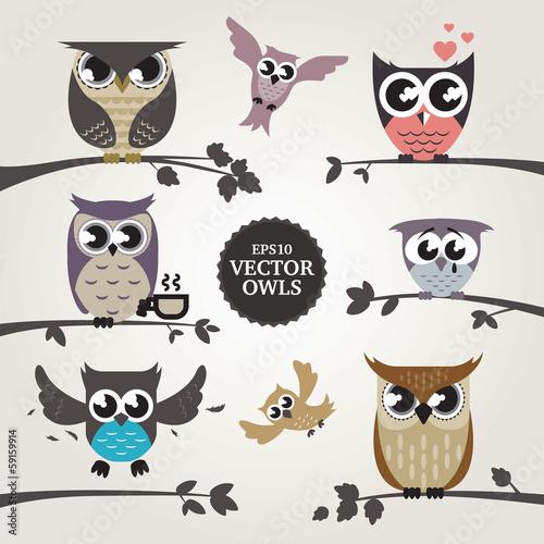 Photo Stands Owls cartoon Vector owls