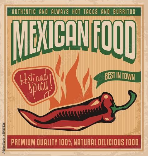 Fotografía  Vintage poster for Mexican food