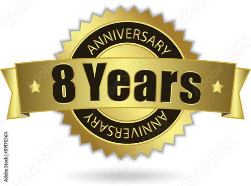 "фотография  ""8 Years Anniversary"" - Retro Golden Ribbon, EPS 10 vector"