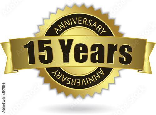 "фотография  ""15 Years Anniversary"" - Retro Golden Ribbon, EPS 10 vector"