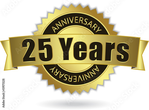 "Poster  ""25 Years Anniversary"" - Retro Golden Ribbon, EPS 10 vector"