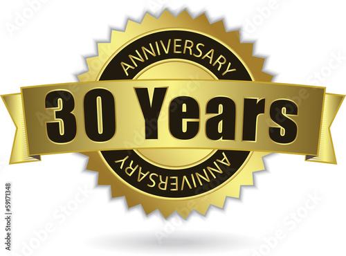 """Платно  """"30 Years Anniversary"""" - Retro Golden Ribbon, EPS 10 vector"""