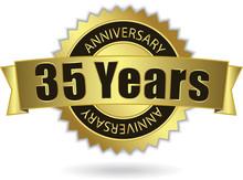 """35 Years Anniversary"" - Retro Golden Ribbon, EPS 10 Vector"