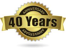 """40 Years Anniversary"" - Retro Golden Ribbon, EPS 10 Vector"