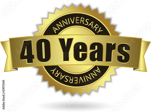 "Poster  ""40 Years Anniversary"" - Retro Golden Ribbon, EPS 10 vector"