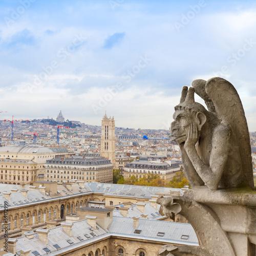 Carta da parati Gargoyle on Notre Dame Cathedral, France