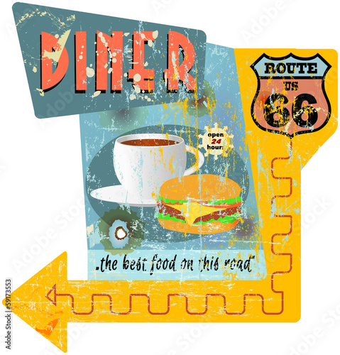 Retro route 66 diner sign, vector illustration
