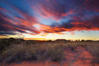 canvas print picture - Beautiful kalahari sunset with dramatic clouds and grass