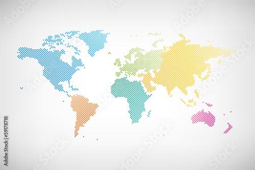 Fotografie, Obraz  Welt Karte Kontinente