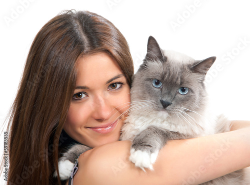Young woman hold Ragdoll cat blue eye and smile Poster