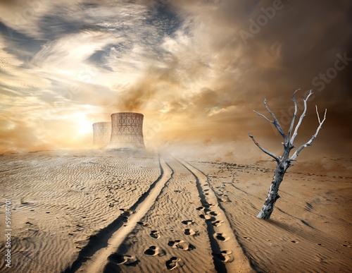 Staande foto Droogte Industrial pipes in desert