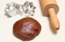 Gingerbread Dough For Christmas Cookies And Rolling Pin