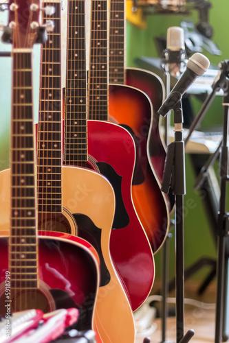 Foto op Aluminium Muziekwinkel Musical instruments