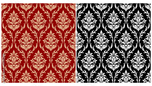 Fotografía  Damask seamless pattern background