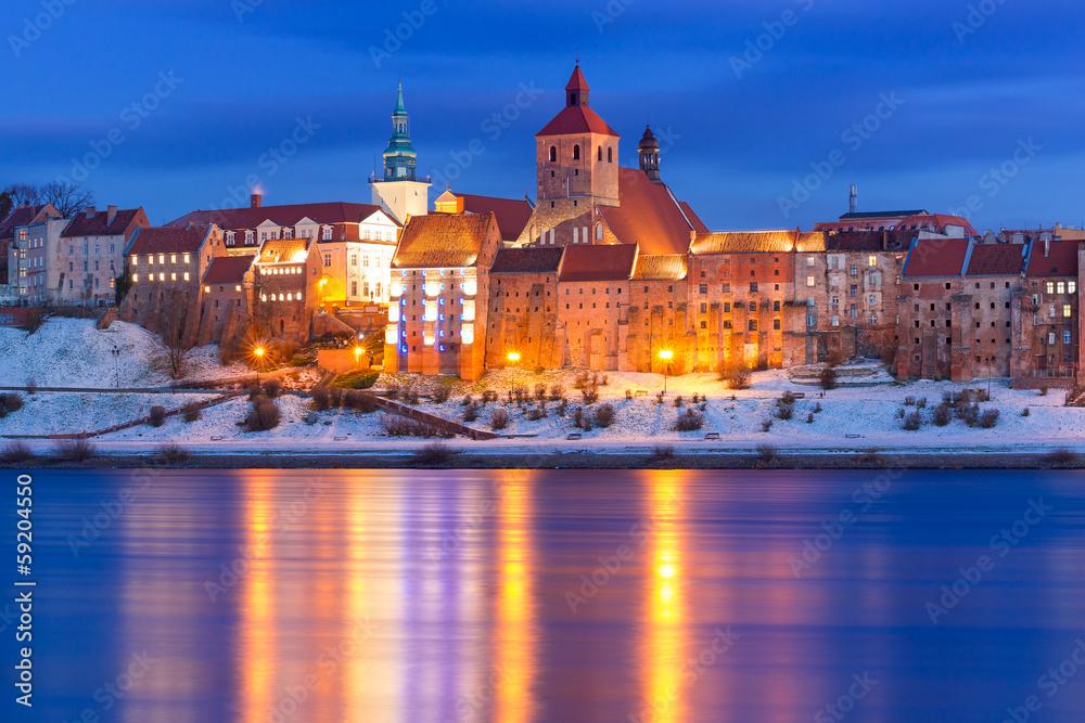 Winter scenery of Grudziadz at Vistula river in Poland