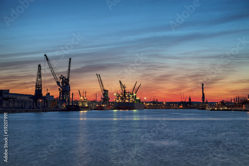 Poster Antwerp Port wharf at sunset background. Gdansk, Poland.