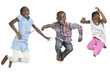 canvas print picture Drei afrikanische Kinder springen vor Freude in die Luft