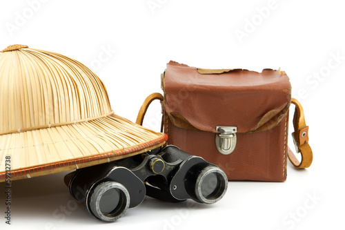 safari hat, vintage camera bag and binoculars
