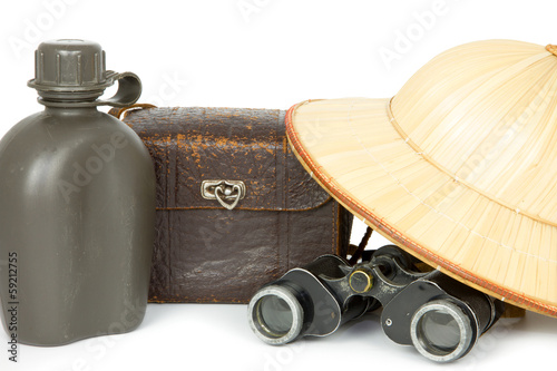 water bottle, camera bag,  binoculars and safari hat