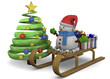 Snowman, Sleed, Christmas Tree and Gift - 3D