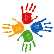 Set Of Colorful Hand Prints