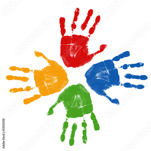 Fotografie, Obraz  Set of colorful hand prints