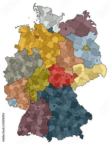 Deutschlandkarte Bundeslander Und Landkreise Buy This Stock