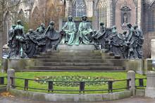 Hubert And Jan Van Eyck Monument In Ghent, Belgium