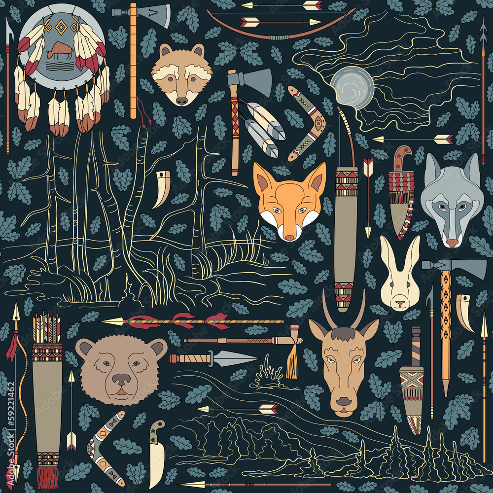 Seamless Native American Pattern With Night Landscapes Background