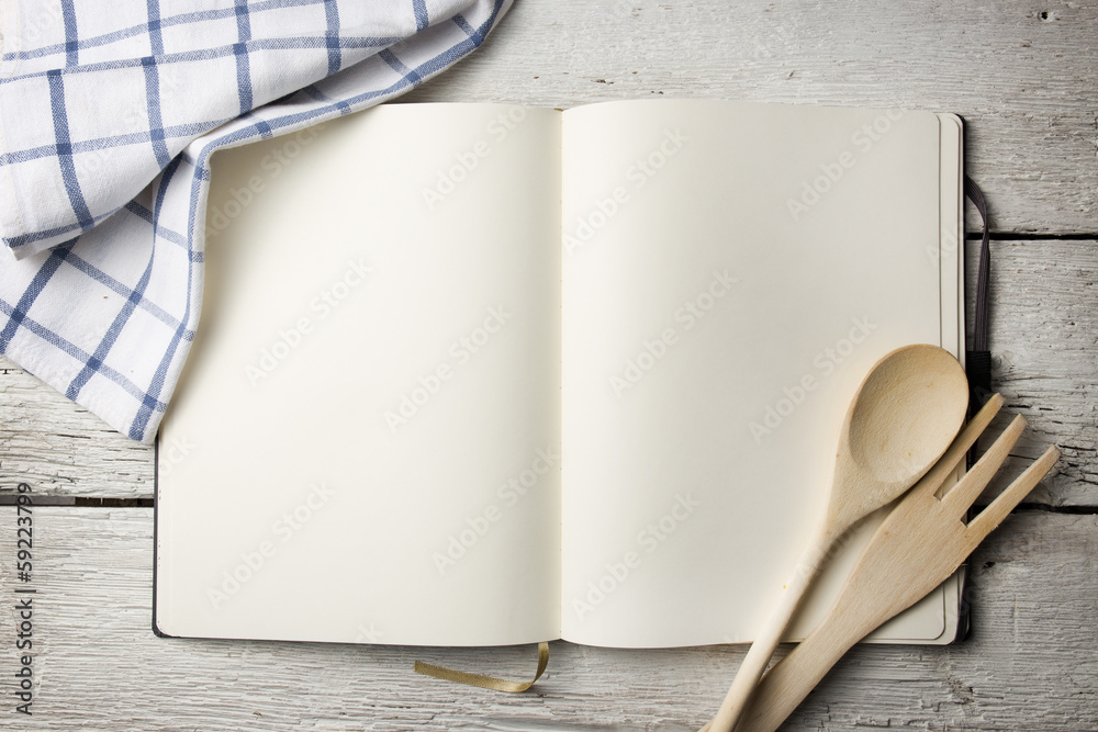 Fototapety, obrazy: Blank recipe book on wooden table