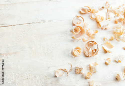Fotografia, Obraz  Closeup view of wooden shavings