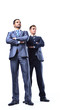 Two happy young businessmen full body, isolated on white