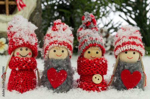 Fotografie, Obraz  kleine Wichtel im Schnee