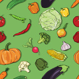 vector seamless color pattern of vegetables on green background