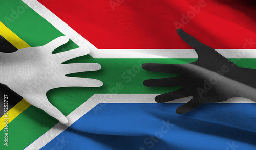 Photo southafrica flag with hands