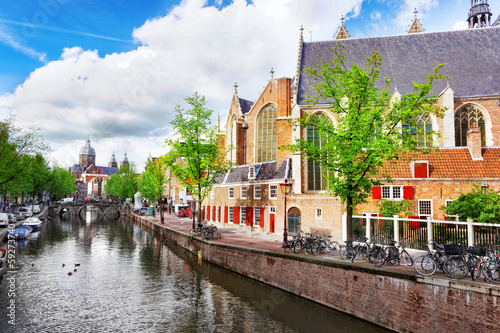 Photo  Amsterdam with canal in the downtown,Holland.
