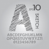 Pencil Sketch Alphabet and Numbers Vector