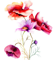 Panel Szklany Maki Watercolor illustration with flowers