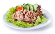 Canned Tuna With Vegetable Salad Isolated